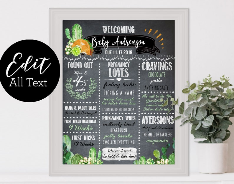 Baby Shower Chalkboard Sign / Fiesta Taco Bout Love Baby image 0