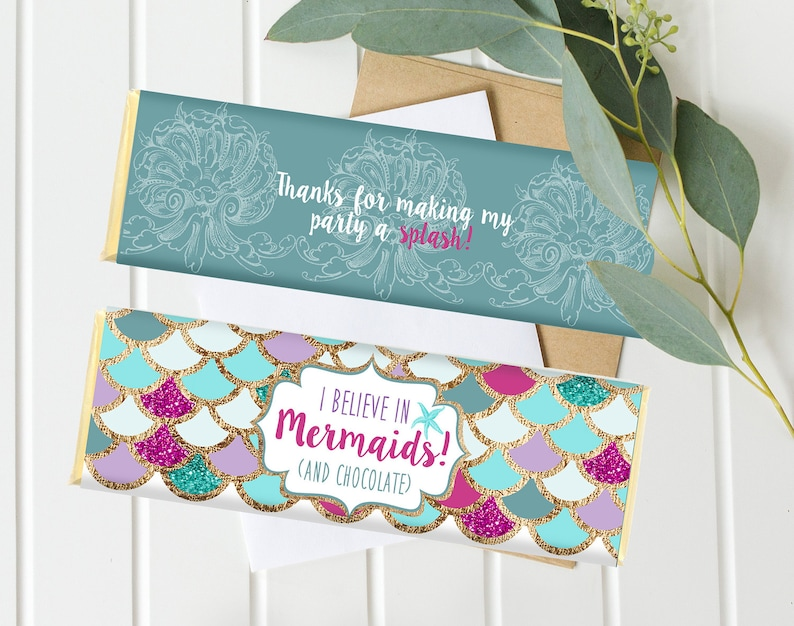 Mermaid Birthday Candy bar Wrappers Purple Teal Gold under image 0