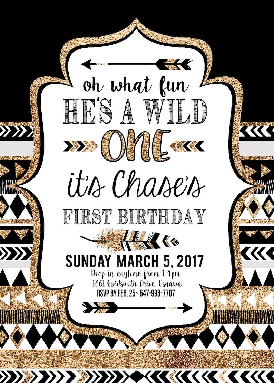 Printable  Decor BOY Black and Gold Wild One Boys Birthday Invitations First Birthday Party Tribal Printable