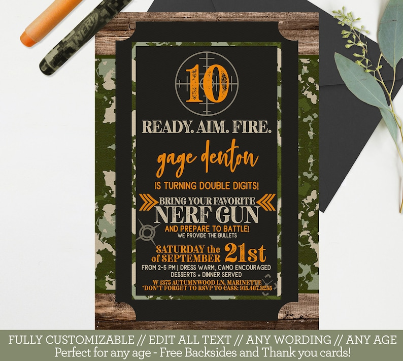 Nerf Birthday Invitation Camo Army Invite Template Boys image 0