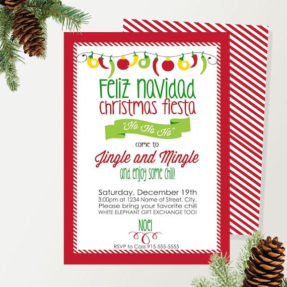 Printable Christmas Holiday Party Invitation Feliz Navidad Etsy
