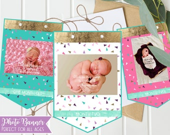 Girls 1st Birthday Photo Banner - First Birthday Monthly OR Any age, pink & purple, Girls photo banner, your photos print directly on banner