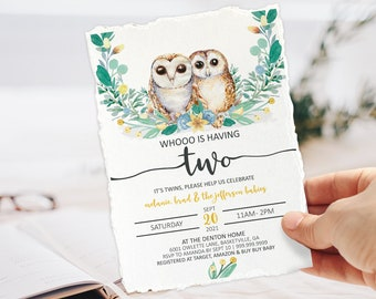 Twin Baby Shower, WHOOOO is having two, Twins Shower, Gender Neutral, Gender reveal, Boy Girl Baby, Editable Invite Printable Template