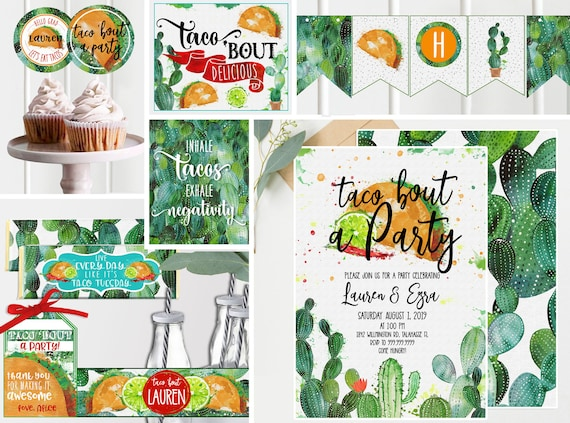 Instant Download TF117 Taco Bout a Baby Shower Bundle /& Save Fiesta Southwestern Cactus Taco Baby Shower Decor- Baby Shower