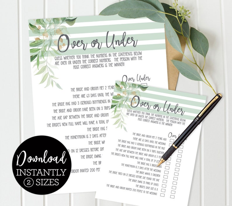 Over or Under Bridal Shower Game Green Palm Leaves Luau image 0