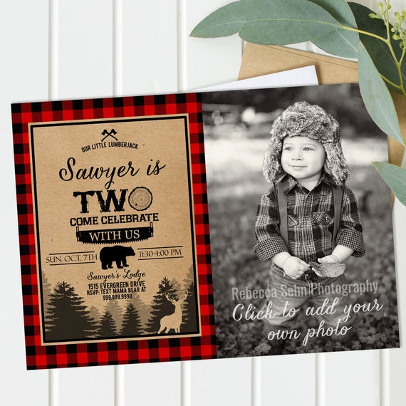 2nd Birthday Invitation Boy Second Lumberjack Into The Wild TWO Bear Buffalo Plaid Printable