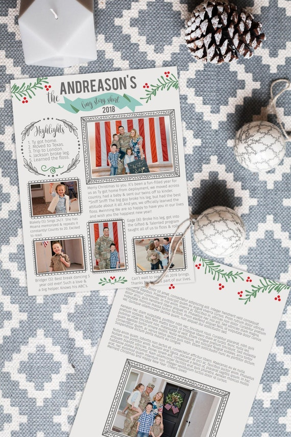 Christmas Family Newsletter Template Year In Review Christmas Card