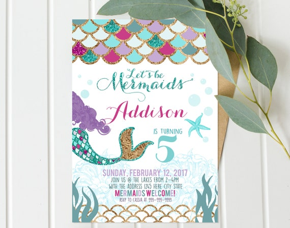 mermaid invitation mermaid birthday invite teal purple gold