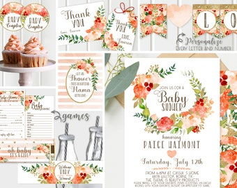 Gold Girl Baby Shower Invitations -  Peach and Gold, Girl Baby Shower, FULL collection Floral Decor + Games