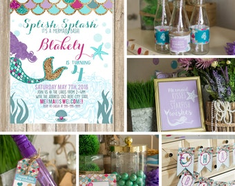 Mermaid birthday invites - with PRINTABLE decorations - purple teal and gold - Mermaid Birthday Party - Instant download