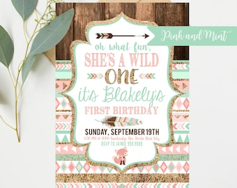 Wild One Birthday Invitations - Pink and Mint - First 1st Birthday Party - Instant Digital Download