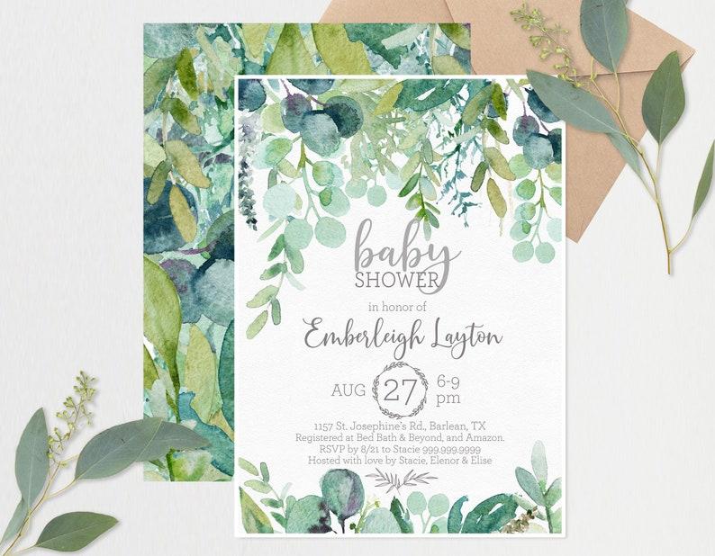 Greenery Farmhouse Baby Shower Invitation Templates image 0