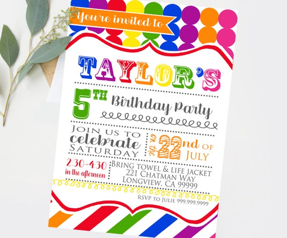 Rainbow Art Birthday Party Invitations Printable DIY Colorful Invitation Boy Or Girl