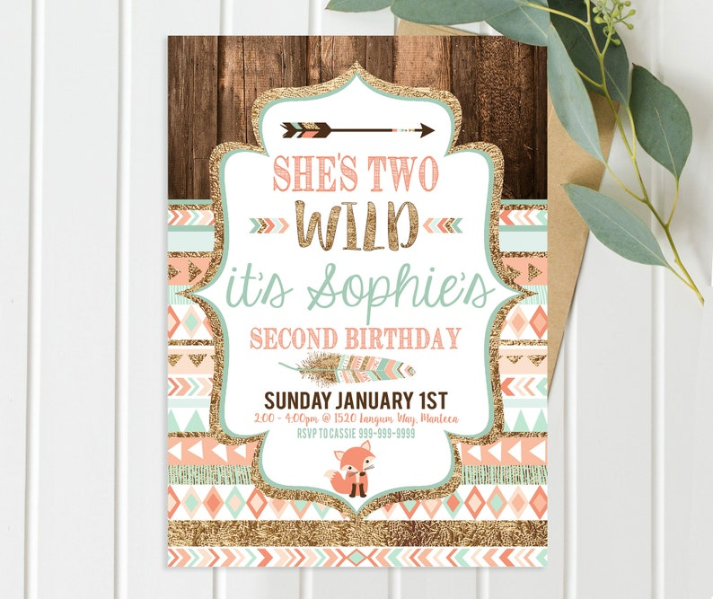 She's Two Wild Birthday Invitations  Coral Gold and teal image 0