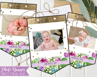 Girls First Birthday Photo Banner, 1st, Cactus and Purple Floral, First Birthday Party, Instant Download