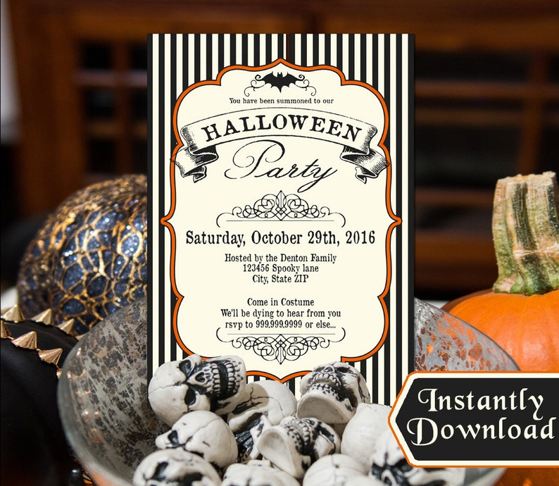 Halloween Invitations Black and White off-white with orange image 0