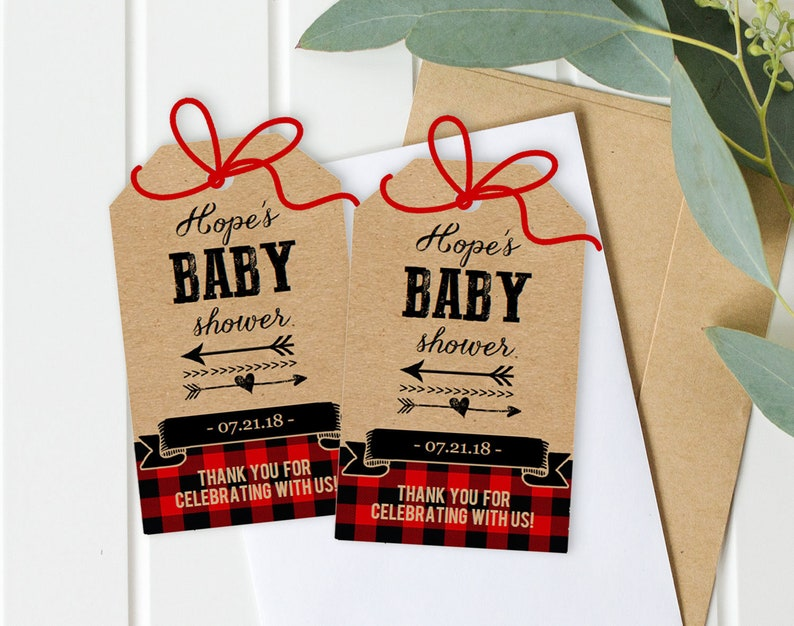 Buffalo Plaid Baby Shower Favor Tags Rustic Boy Baby Shower  image 0