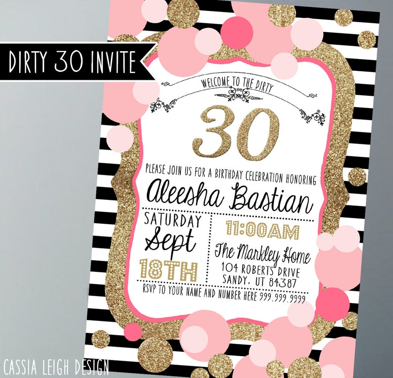 Printable Birthday Party Invitations Gold Pink Black And White