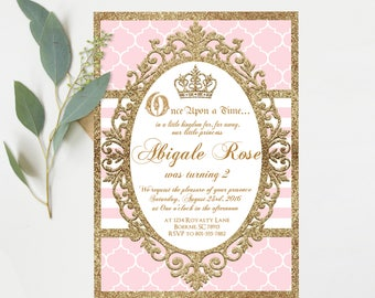 Pink Princess Birthday Invitations - Pink and Gold Glitter - Princess Birthday Party- Printable Instant Download