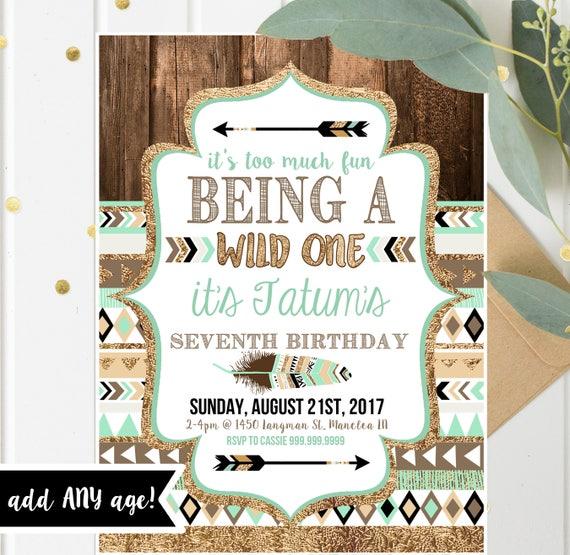 Wild One Tribal Birthday Invitations