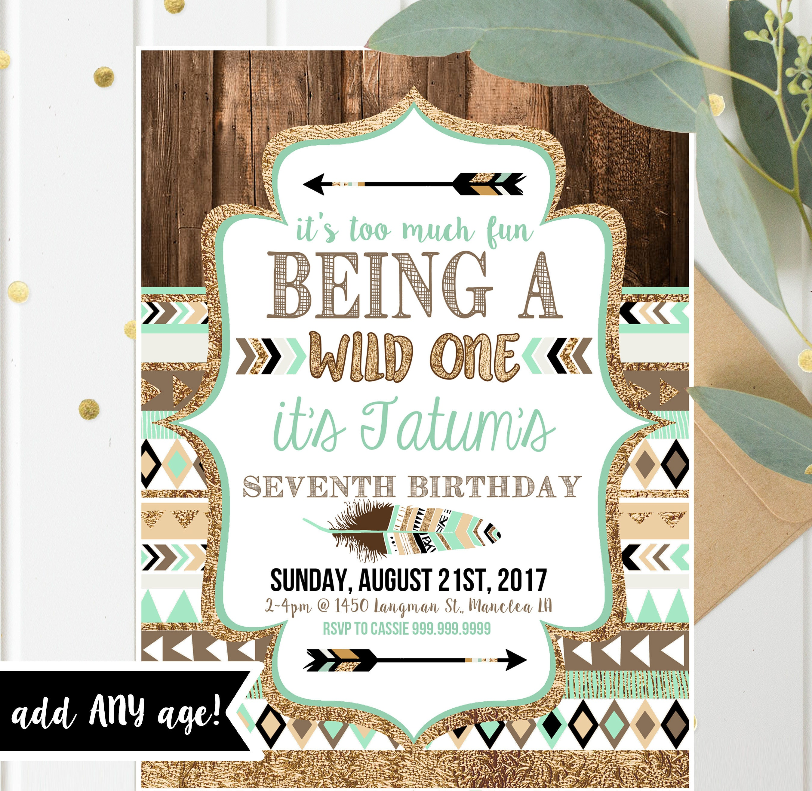 Wild One Tribal Birthday Invitations Boy Printable Invites