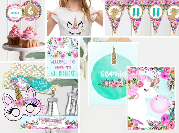 Unicorn Birthday Decorations Pink Purple Teal Floral
