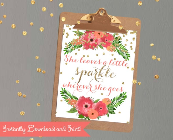 """Girls Room Printable Decor Quote """"She Leaves A Little"""
