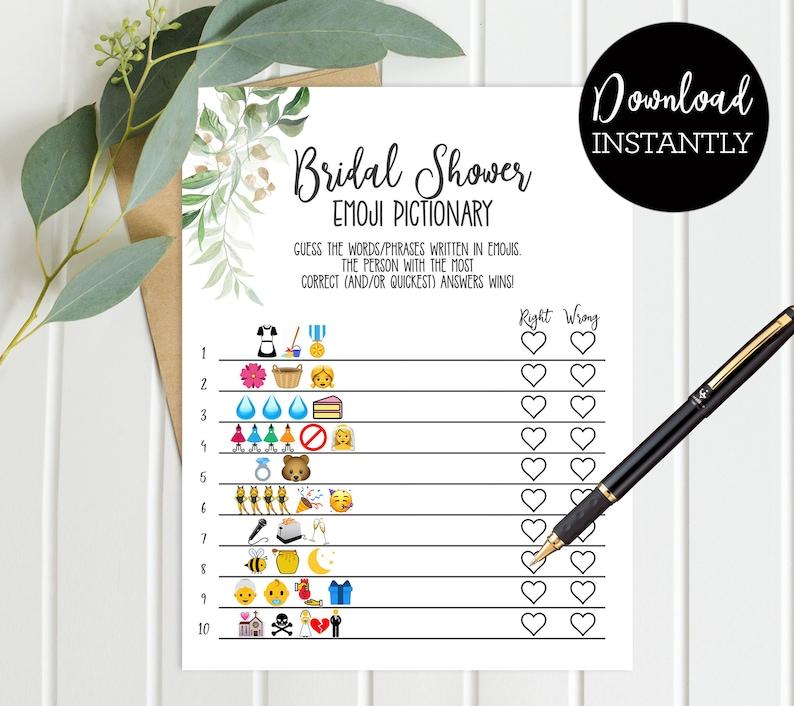 Bridal Shower Emoji Pictionary Bridal Shower Game Green Palm image 0