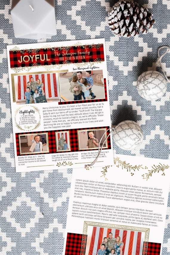 christmas family newsletter template buffalo plaid gold with etsy