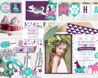 Girls Puppy Birthday Party invitation, Photo invite, Purple, pink and teal, Girls Puppy Dog Birthday, Custom Instant Download