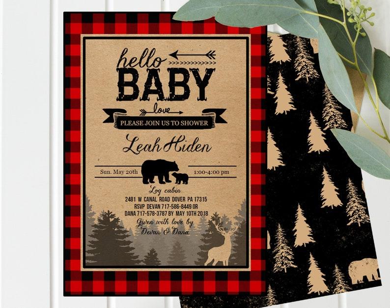 Buffalo Plaid Baby Shower Invitation  Rustic Boy Baby Shower image 0