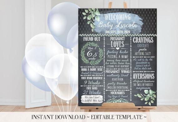 Baby Boy Shower Print Yourself Baby Shower Chalkboard Sign Cute Boy Baby Shower Pregnancy Stat Sign Baby Shower Ideas