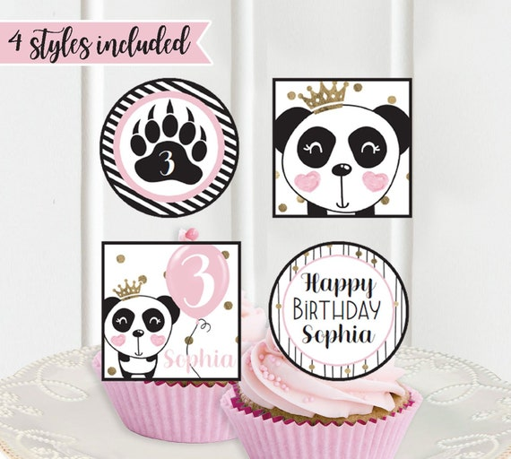 Panda Birthday Cupcake Toppers Printable Party Decorations Black