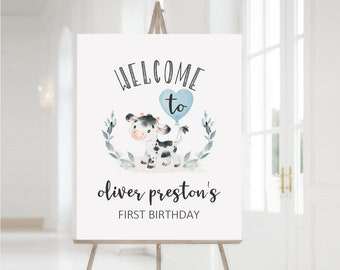 EDITABLE Welcome Sign, Holy Cow I'm One, Blue Boys Farm Cow Boy Birthday Welcome, Boy Farm Birthday Welcome Sign, Customizable PDF DIY File