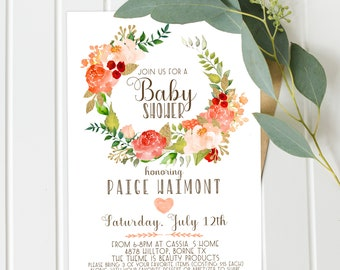 Girl Baby Shower Invitations, Peach and Gold, Girl Baby Shower, Digital Download