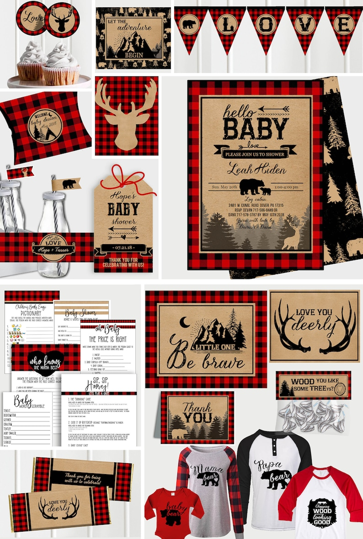 BUNDLE Buffalo Plaid Baby Shower Invitation  Rustic Boy Baby image 0