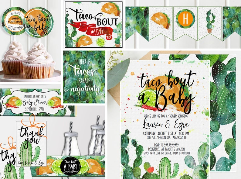Bundle & Save - Taco Baby Shower Invitations + Decor- Baby Shower - Cactus,  Taco Bout a Baby Shower, Fiesta Southwestern - Instant TF117