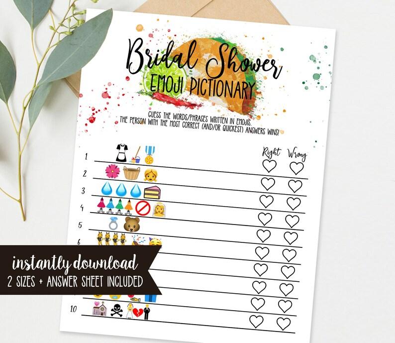 Fiesta Bridal Shower Game  Bridal Shower Emoji Pictionary  image 0