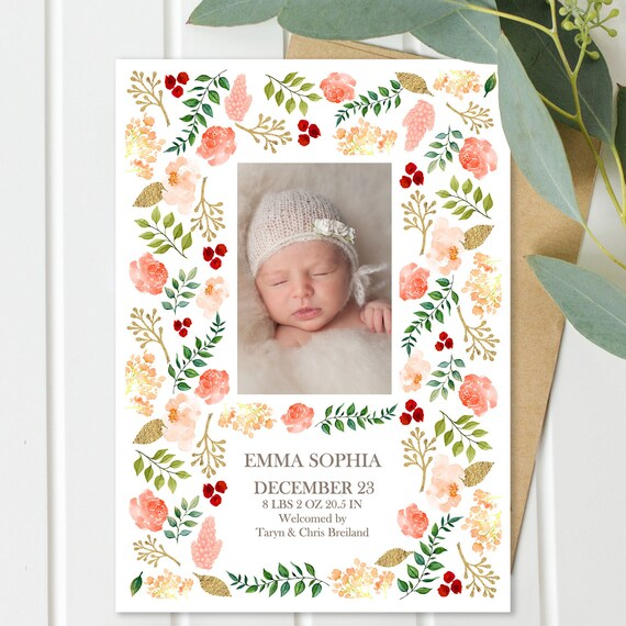 Blush Coral and Greenery Watercolor Birth Announcement Dummy-Proof Template Instant Download Baby Girl 5x7 Photo Card