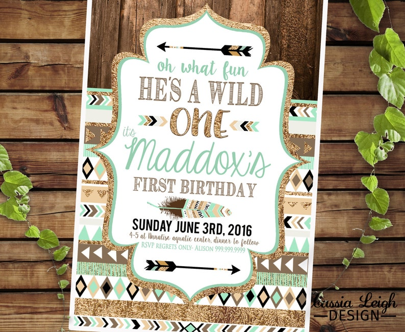 Tribal Birthday Printable Invitations brown mint teal and ...
