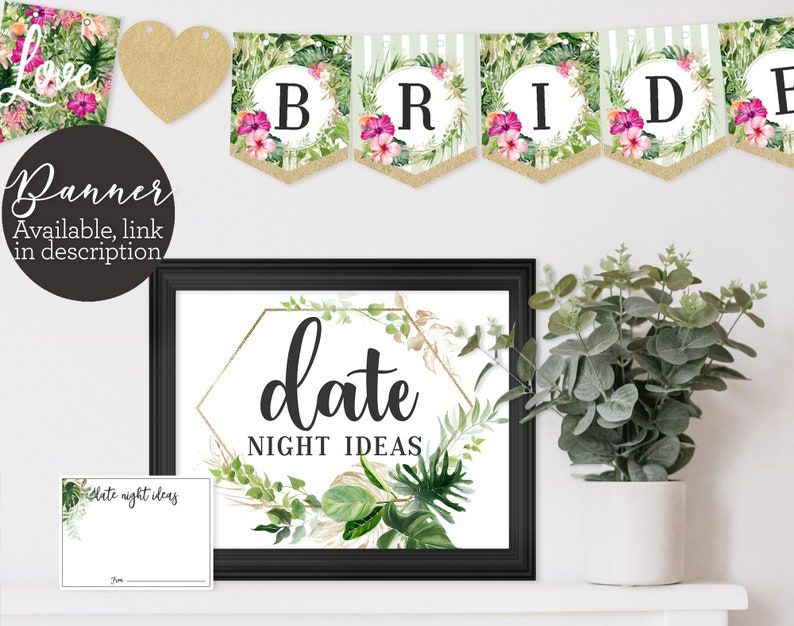 Date Night Ideas Bridal Shower Game Shower Activity Green image 0