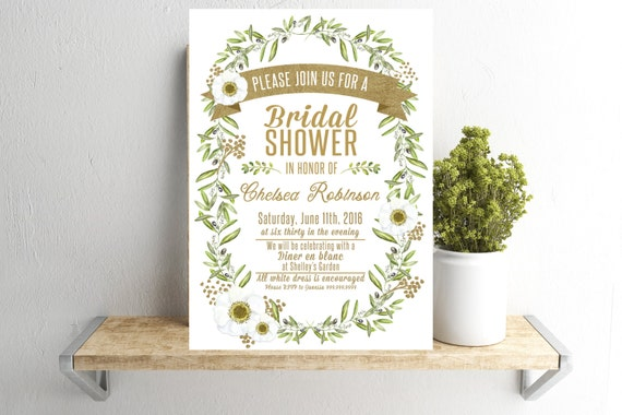 7041ed828d09 Bridal Shower Invitation - Greenery and Gold - (Printable File) Watercolor Olive  Branch Floral White and Greens