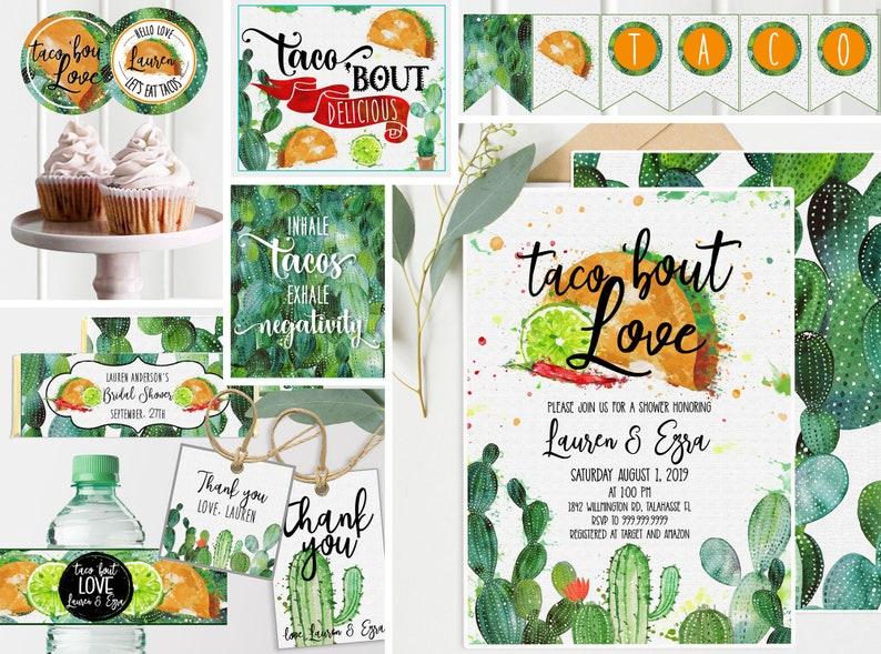 HUGE BUNDLE Taco Bridal Shower Invitation  Decor  Cactus image 0