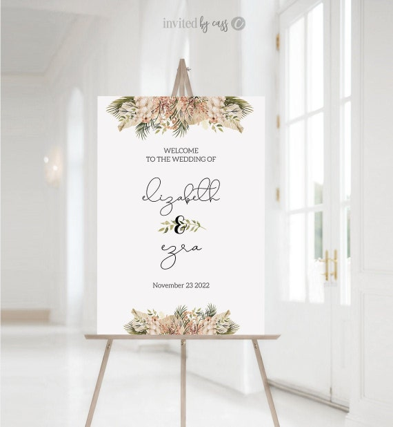 Pampas Grass Wedding Welcome Hawaii Desert Dried Palm Leaves Reception Sign 4 sizes Welcome Poster Boho Welcome Sign Template Templett