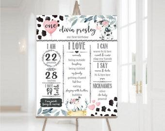 EDITABLE Milestone Board, Holy Cow Girls First Birthday Milestone Sign, Printable Birthday Milestone Template, Baby's First Birthday Sign