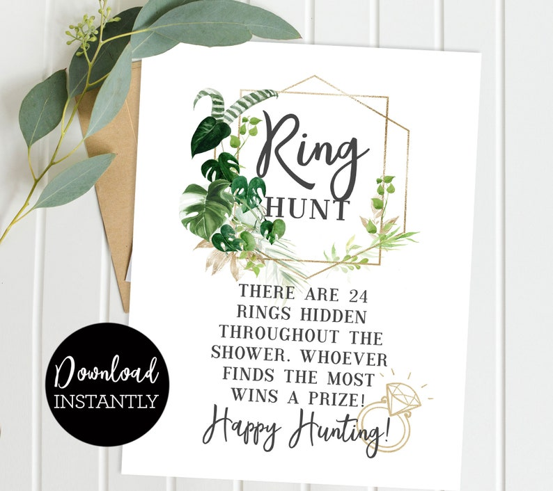 Ring Hunt Game Bridal Shower Game Green Palm Leaves Luau image 0
