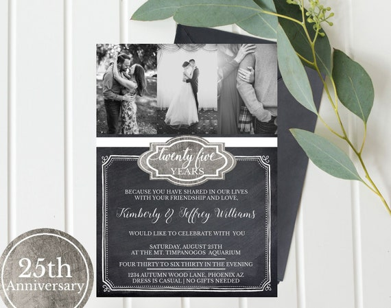 Wedding Anniversary Invitation Photos 25th Silver