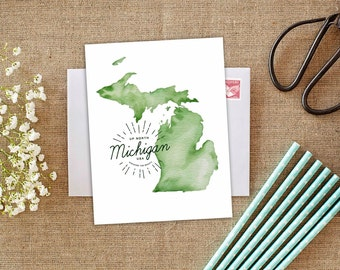 Great lakes card greetings from the great lakes greetings up north michigan michigan greeting card michigan gift made in michigan michigan state map michigan map michigan stationery big lake m4hsunfo