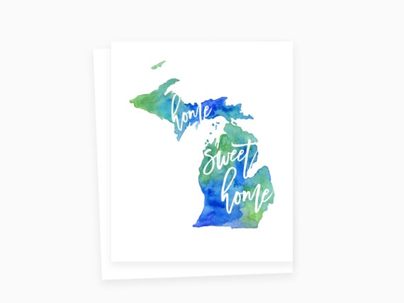 Home sweet home michigan card michigan greeting cards etsy m4hsunfo