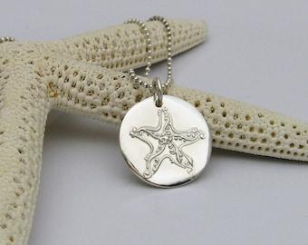 Silver Starfish Necklace, Handmade Silver Necklace, Handmade Starfish Necklace, Beach Lover's Necklace, Beach Wedding Necklace
